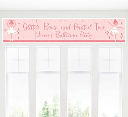 Printed and Shipped Ballerina Birthday Party Banner Girls 1st Birthday Tutu Ballet Slippers Personalized Paper Banner