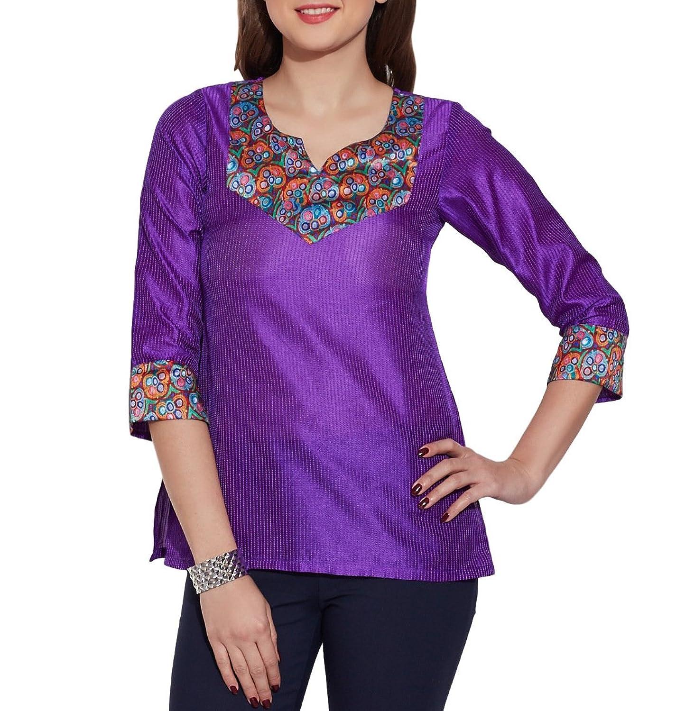 30%OFF Para la ropa de seda WomenFaux - 100% poliéster Kurti Top, W ...
