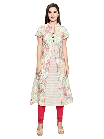 Stand Collar Designs For Kurti : Arch elements cotton designer womens kurti with stand collar