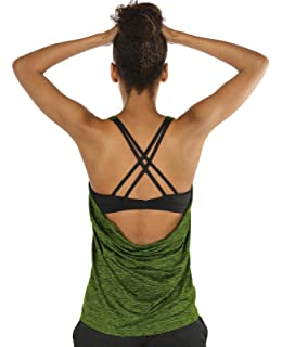 20d7abdbd9711 icyzone Yoga Tops Workouts Clothes Activewear Built in Bra Tank Tops for  Women