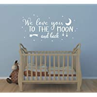 Wall Decal Kids We Love You to The Moon and Back Quote Wall Decals Nursery Vinyl Wall Stickers for Baby Boys and Grils Bedroom Scandinavian Wall Decal (Y29) White 29