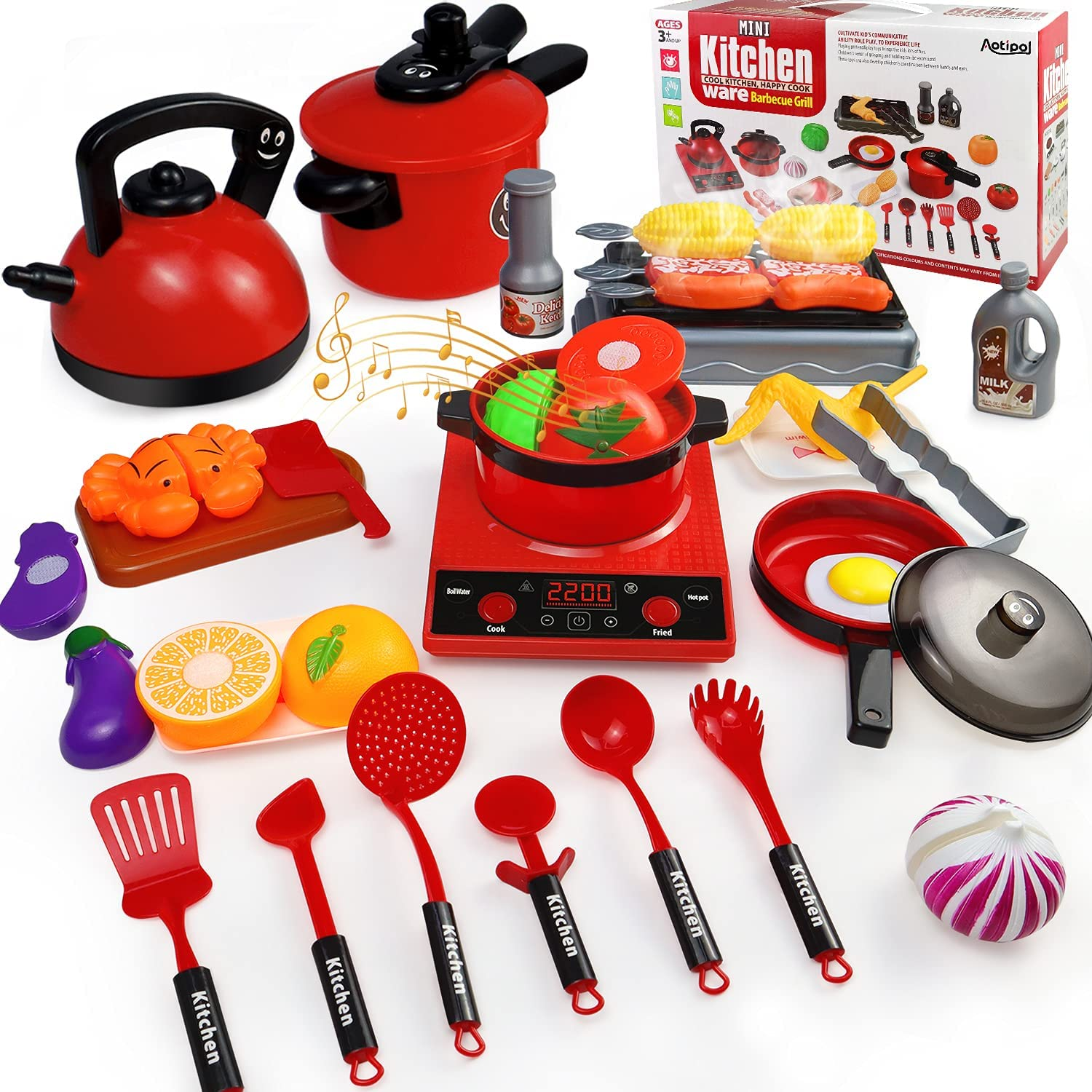 aotipol Play Kitchen Accessories Set with Sound - Kids Kitchen Pretend Toys with Pots & Pans, BBQ Grill, Cutting Play Food, Cookware Utensils - Educational Gift for Boys Girls 3 4 5 6 Years Old