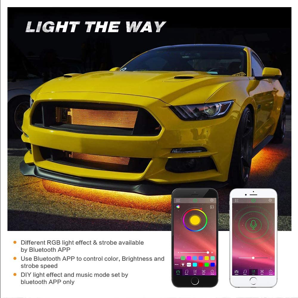 Multicolor Neon LED Rock Lights Auxbeam 4 Pods RGB LED Rock Lights with Bluetooth Controller Underglow Rock Lights Kit for Car Jeep Off Road Truck ATV SUV Boat