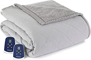 Shavel Home Products Micro Flannel Electric Reversible Sherpa Blanket, Queen, Greystone