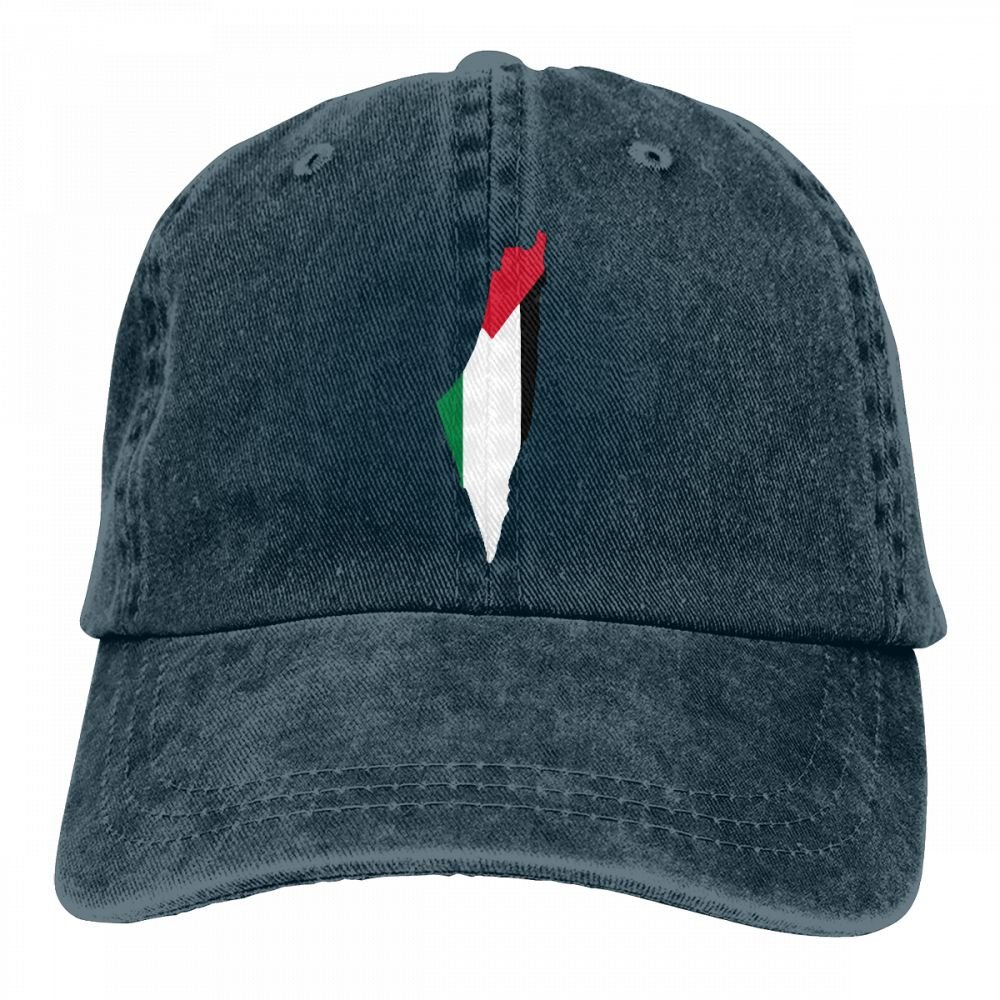 HM66-CAP Flag Map of Palestine Mens Womens Adjustable Yarn-Dyed Baseball Cap Dad Hat