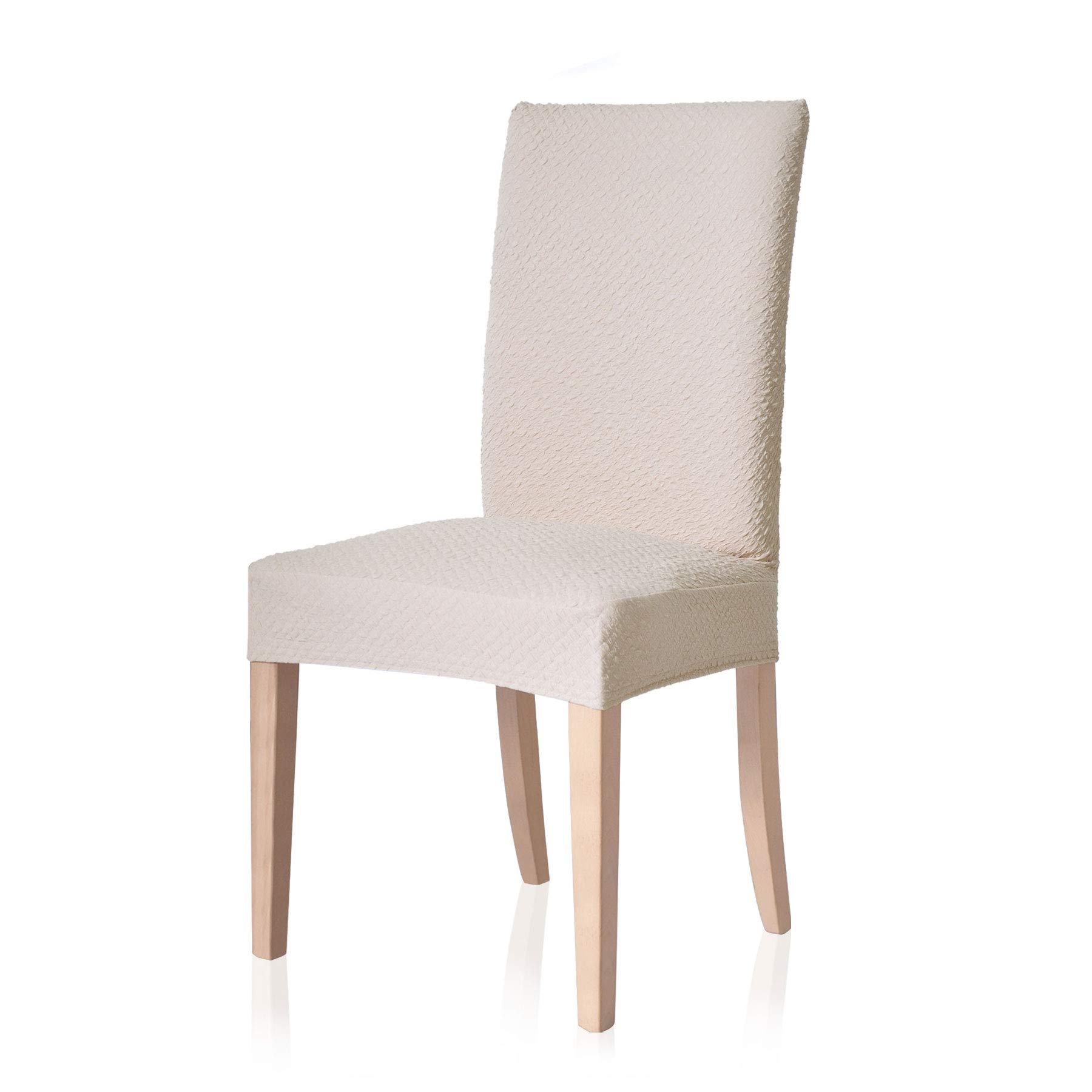 TOYABR Knitted Stretchy Dining Chair Covers Jacquard Spandex Chair Protect Slipcovers for Banquet Wedding Party (4, Cream Ivory)