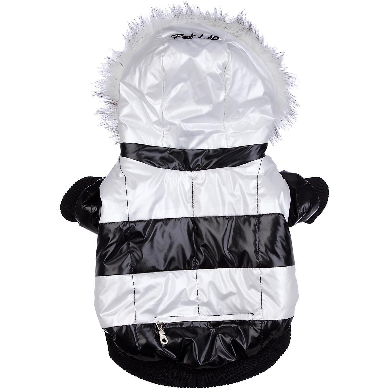 PET LIFE Fashion Striped ultra-plush Pet Dog Coat Jacket Parka w/ 3M Insulation and Removable Hood, Medium, Black & White
