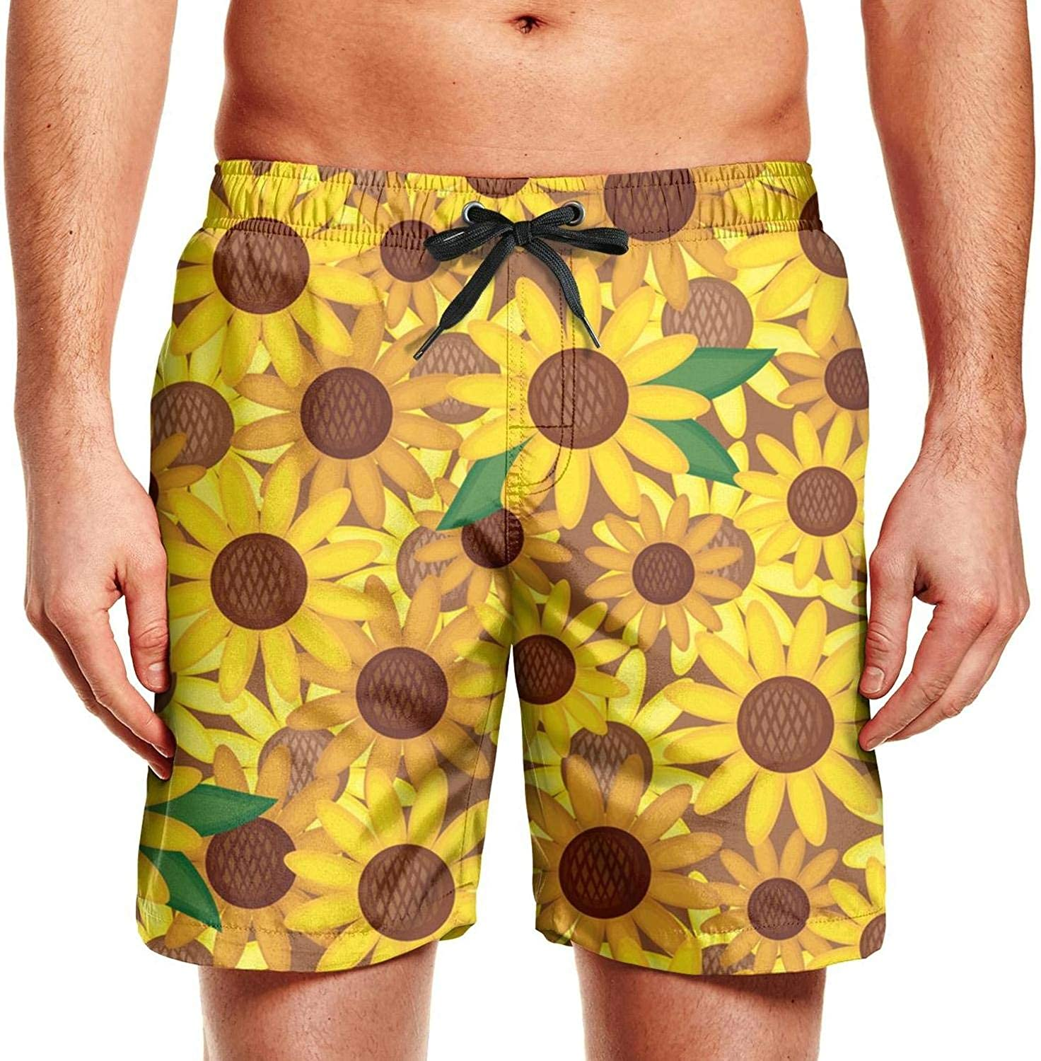 WIHVE Mens Swim Trunks Cute Cactus Tropical Plant Black Beach Board Shorts with Lining
