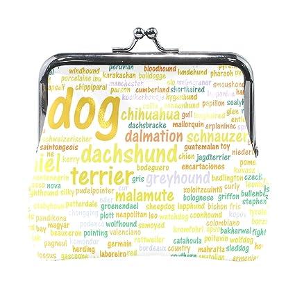 COOSUN Todos los tipos de perros Cuero alfabeto moneda del embrague monedero de cierre a presión