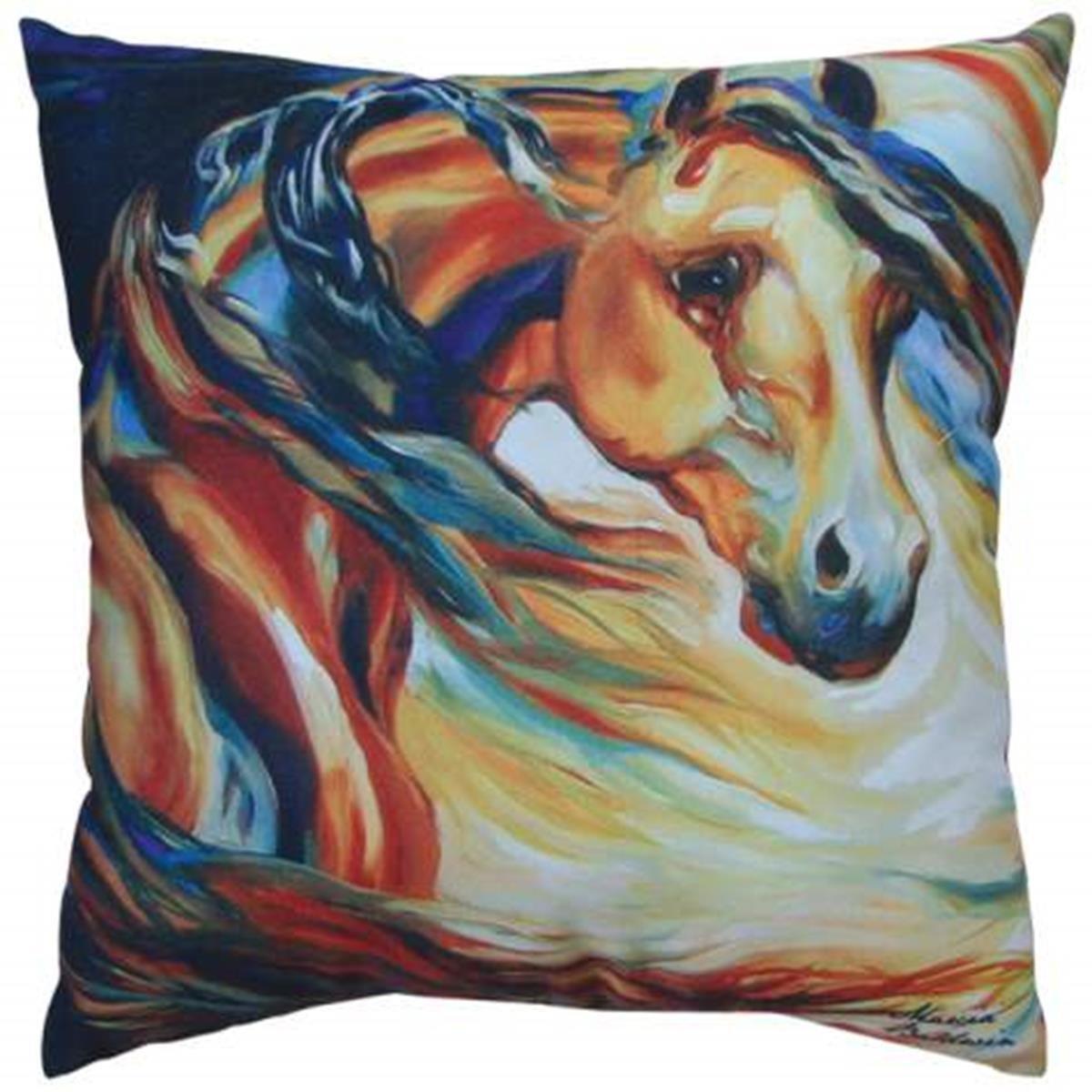 16 x 16 Inch Multicolored Wind Horse Design Sofa Pillow