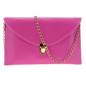 Ladies Handbag - All4you Synthetic Leather Envelope Purse Clutch Shoulder Bag with Golden Chain for Dinner Party(Rose)