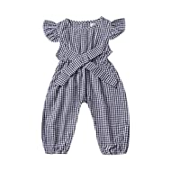 Infant Baby Girls Matching Plaid Jumpsuit Gingham Bodysuit Layette Checkered Romper