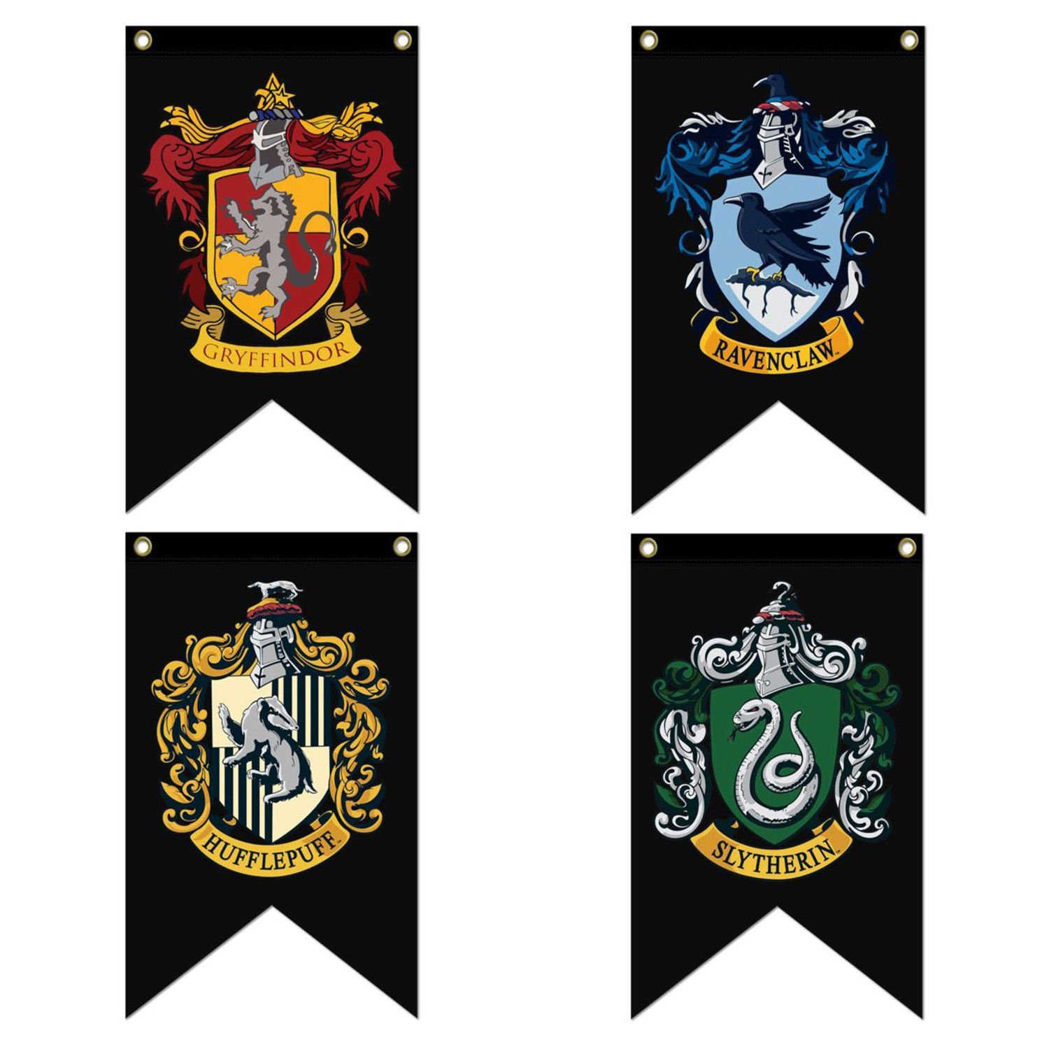 HP Complete Hogwarts House Banners (Black Edition) 4pc. Set - Gryffindor, Slytherin, Hufflepuff, Ravenclaw | Ultra Premium Double Layered
