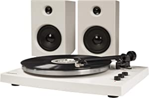 Crosley T150 Modern 2-Speed Bluetooth Turntable System with Variable Weighted Tone Arm and Stereo Speakers, White