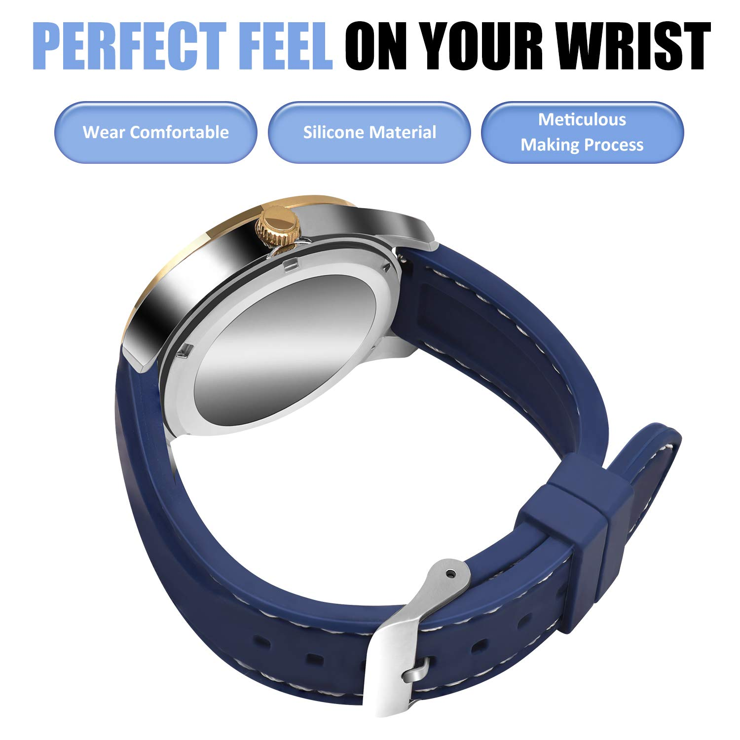 Amazon.com: OLLREAR Silicone Watch Strap Replacement Rubber Watch Band -8 Colors & 5 Sizes - 16/18/20/22/24mm (22mm, Navy Blue/White): Watches