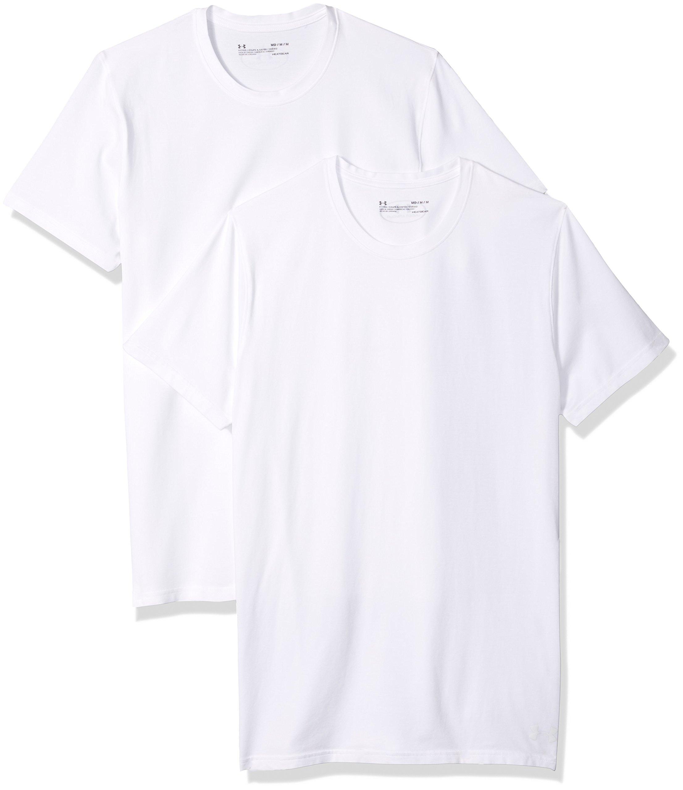 Under Armour Men's Cotton Stretch Crew Undershirt – 2-Pack,White (100)/White, Medium