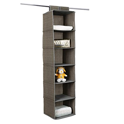 SONGMICS 6 Shelf Hanging Closet Organizer Sturdy Collapsible Storage Shelves  For Clothes And Shoes Light