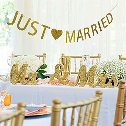 165e87b294dd Image Unavailable. Image not available for. Color  MEiySH Mr and Mrs Sign + Just  Married Banner Wedding Decoration ...