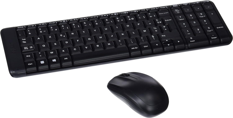 Logitech MK220 Combo Teclado y Ratón Inalámbrico para Windows, 2,4 GHz con Receptor USB Unifying, Ratón Inalámbrico, Batería de 24 Meses, PC/Portátil, Disposición AZERTY Francés, Color Negro