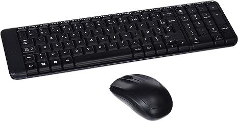 Logitech MK220 Combo Teclado y Ratón Inalámbrico para Windows, Disposición AZERTY Francés, Negro