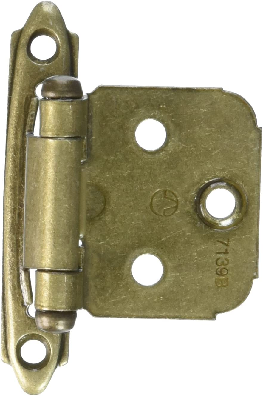 Variable Overlay Self-Closing, Face Mount Burnished Brass Hinge - 2 Pack