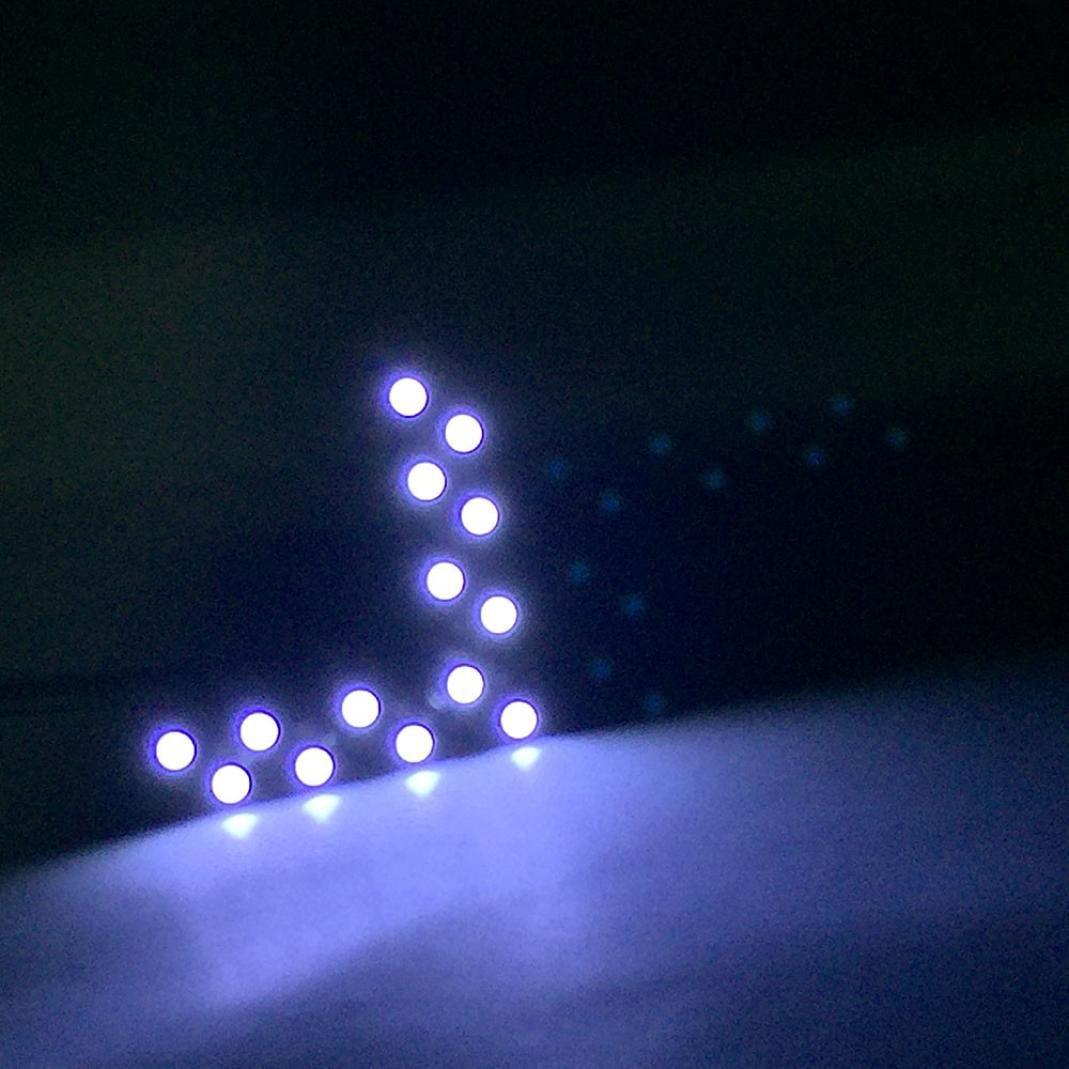 Chezaa LED Light Bulbs,12 v DC 14 SMD LED Arrow Panel for Car Rear View Mirror Indicator Turn Signal Light (White)