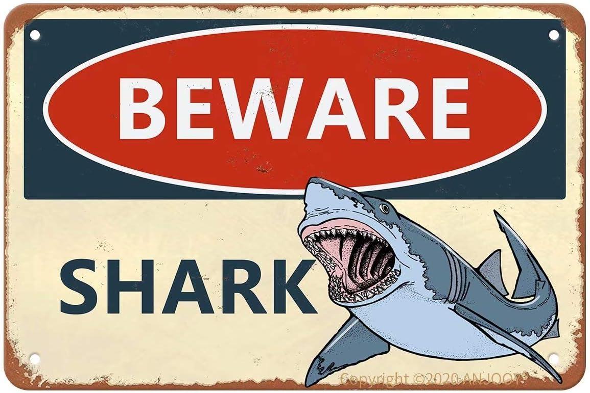 Vintage Metal Tin Signs - Beware of Shark - Aluminum Sign for Cafe Home Coffee Bar Pub Garage Hotel Garden Wall Decor Art