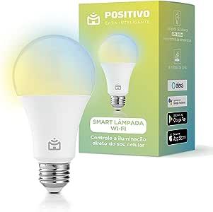 Smart Lâmpada Wi-Fi, Positivo Casa Inteligente, 806 lúmens, controle de temperatura de cor, Compatível com Alexa