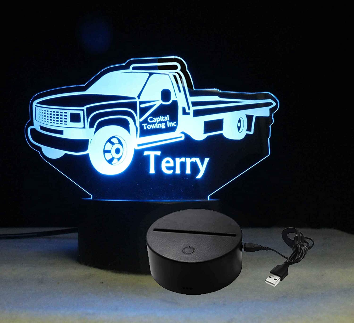 Customizable Personalized Tow Truck Night Light Table top Gift for Dad Business logo,