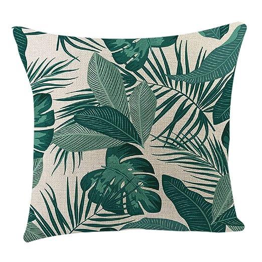 Funda de cojín, diseño de hojas verdes de verano de lino y ...