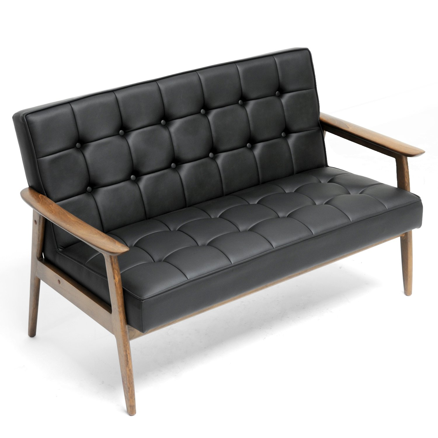 Terrific Amazon Com Baxton Studio Stratham Mid Century Modern Sofa Ibusinesslaw Wood Chair Design Ideas Ibusinesslaworg