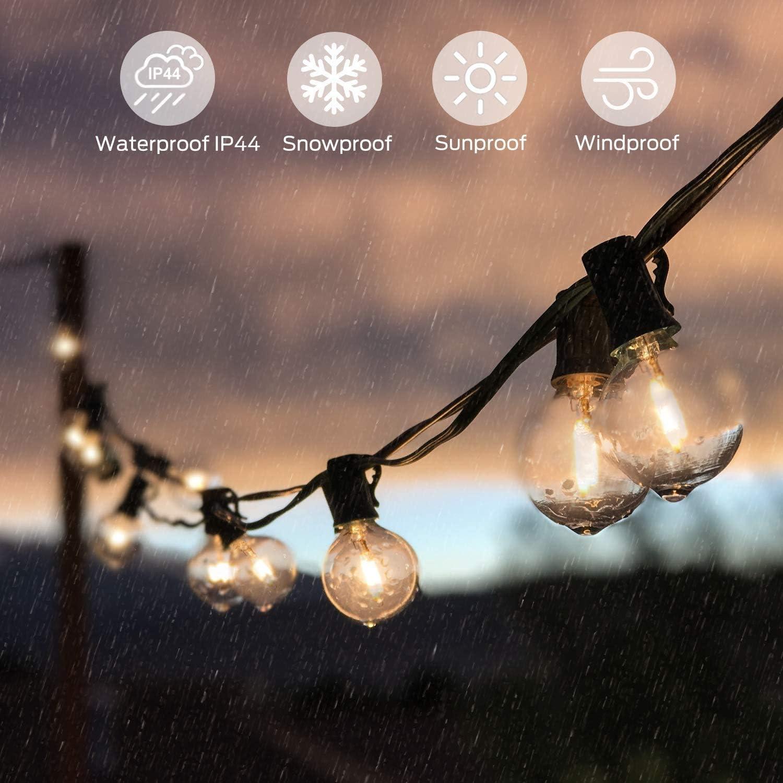 Wasserdicht 30+2 LED Birnen E12 Warmwei/ß 2500K Beleuchtung f/ür Innen und Au/ßen Deko Garten Hochzeit Solar Lichterkette Au/ßen,Lichterkette Gluehbirne Aussen,OxyLED G40 10.35m Lichterkette Garten
