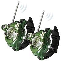 Pack of 2 Little Two Way Radio Transceiver Walkie Talkies Toys 130 Meters Long Range UHF 462.550-467.7125MHz Best Gift for Kids Outdoor Activities (Wrist Watch-1228-7)