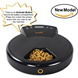 Jempet Automatic Pet Feeder for Cats and Dogs, 5 Meal Trays for Dry and Wet Food, Auto Pet Food Dispenser Programmed with Timer and Voice Recording Function
