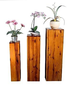 Sam Möbel Outlet 3er Set Blumensäulen Enie Akazie Blumenständer