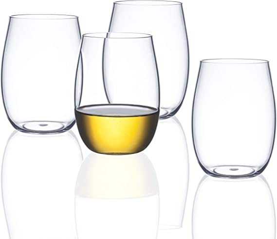 FDCuvée Set of 4 Thin As Glass 15 oz Unbreakable Stemless All Purpose Wine & Spirit Glass