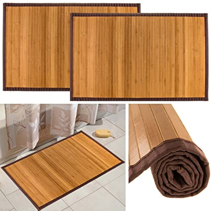 Bamboo (2 Pack) Non Skid Water Resistant Bath Floor Mats Non Slip Shower  Bathroom