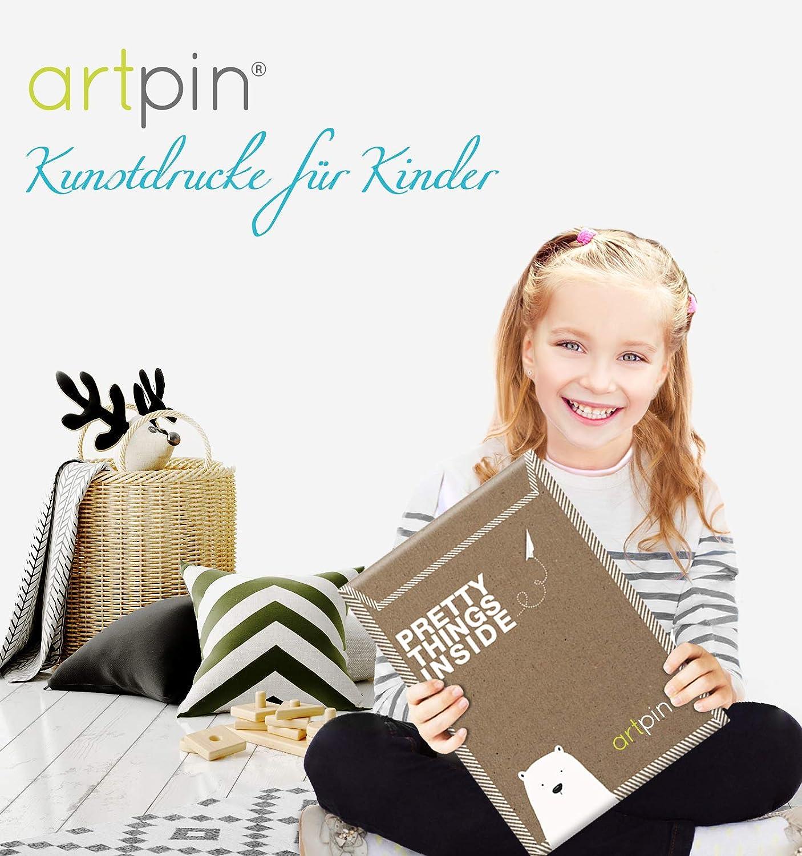 Immagini per Ragazze e Ragazzi cameretta dei Bambini Formato A4 in Stile scandinavo Decorazione per cameretta dei Bambini Artisti ARTpin/® Poster Set Arte per Bambini