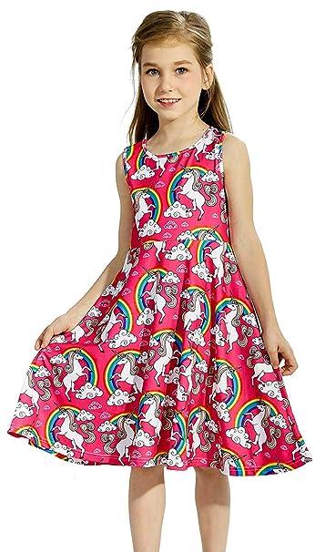 17a0c437d08b Amazon.com  Toddler Girl Sleeveless Casual Dress Unicorn Dresses Kid ...