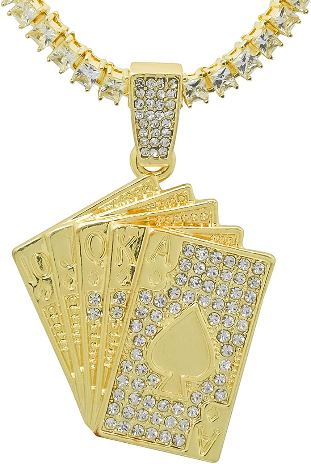 Yellow Gold-Tone Hip Hop Bling Iced Out Cardi B Money Moves Letter Pendant with 24 Tennis Chain and 24 Rope Chain