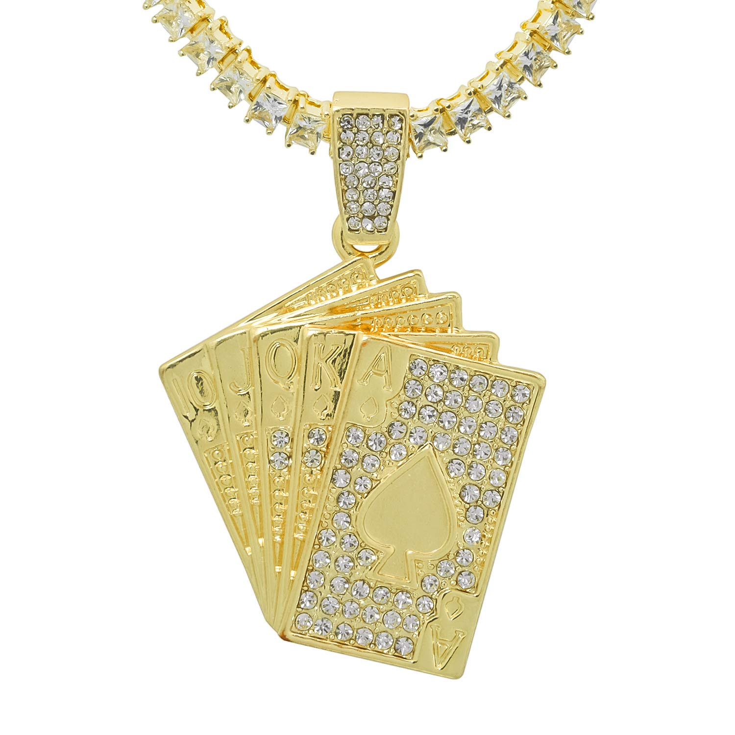 Gold-Tone Iced Out Hip Hop Bling Poker Spade Royal Flush Pendant with Princess Cut Cubic Zirconia 18 Tennis Chain and 24 Rope Chain