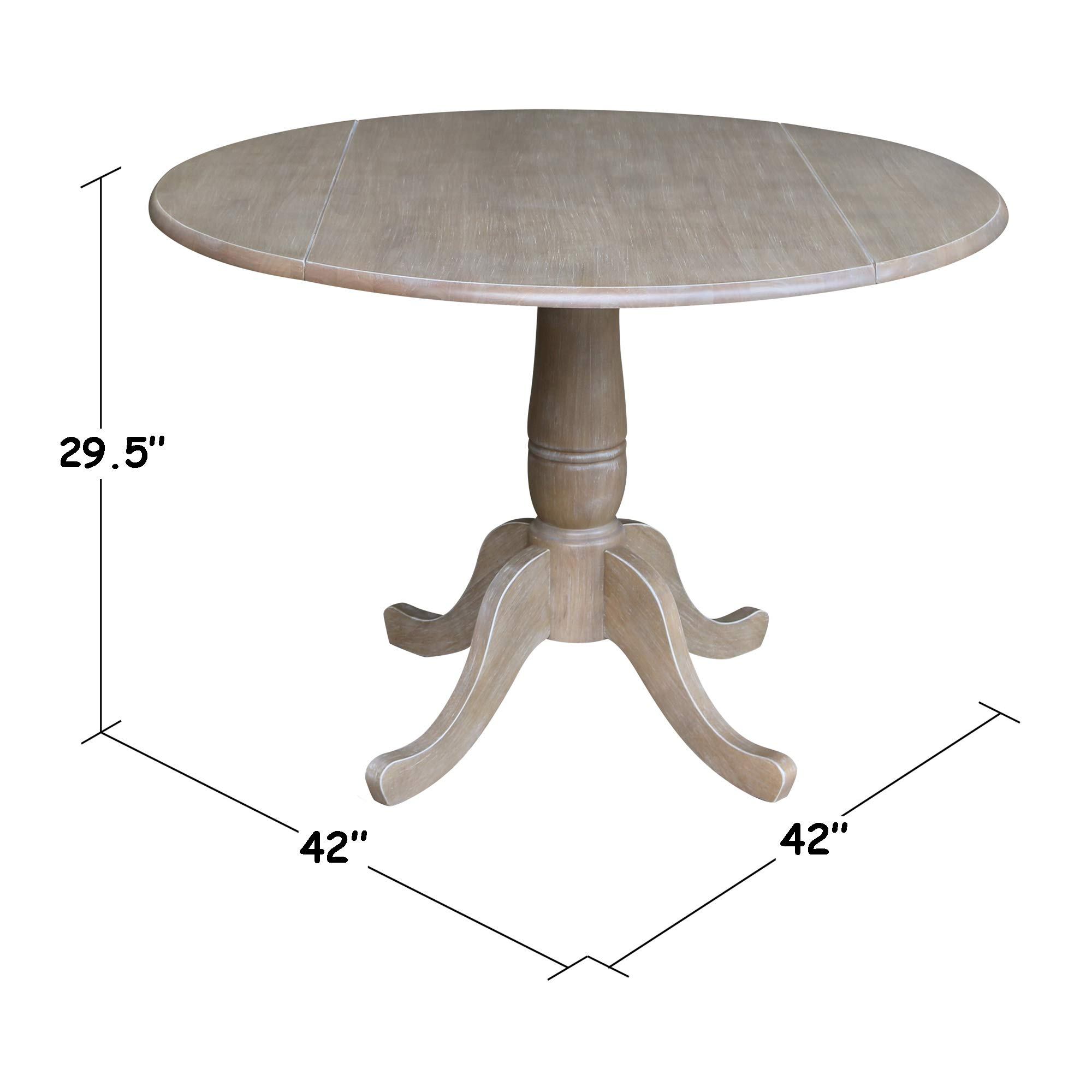 International Concepts 42'' Round Dual Drop Leaf Pedestal Table-29.5'' H Dining Table, Washed Gray Taupe by International Concepts
