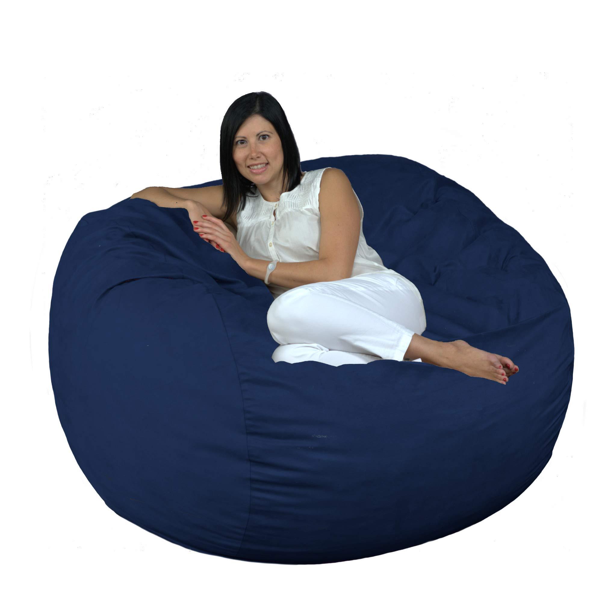 FUGU Bean Bag Chair, Premium Foam Filled 4 XL, Protective Liner Plus Removable Machine Wash Navy Blue Cover by FUGU