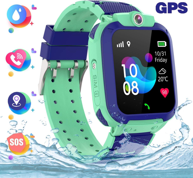 Reloj inteligente para niños a prueba de agua IP67, GPS Rastreador Reloj anti-perdida de teléfonos inteligentes, de llamada bidireccional SOS y juegos de matemáticas - regalo para niños (Verde)