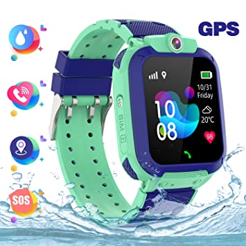 Reloj Inteligente Smartwatch para Niños, Inteligente Relojes Phone LBS Niños Localizador con SOS Cámara Pantalla Táctil Chat de Voz Juego para 3-12 ...