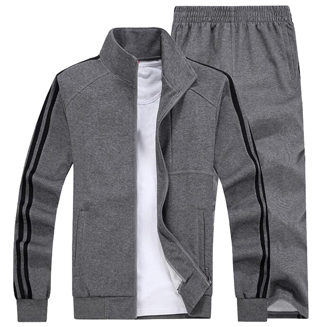 Oberora Mens Sports Suit Sweatshirts Elastic Waist Sweatpants Casual Jogger Tracksuit