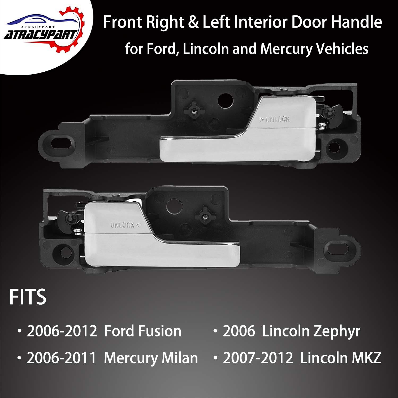 Front Left Inside Interior Door Handle Black Chrome for 2007-2012 Lincoln MKZ
