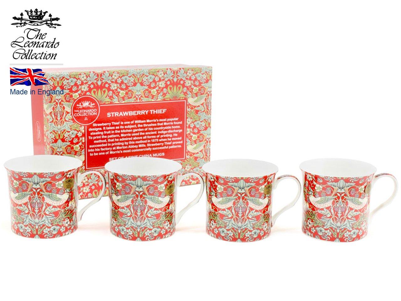 Lesser & Pavey Strawberry Thief Tasses, Multicolore, Lot de 4 LP92656A