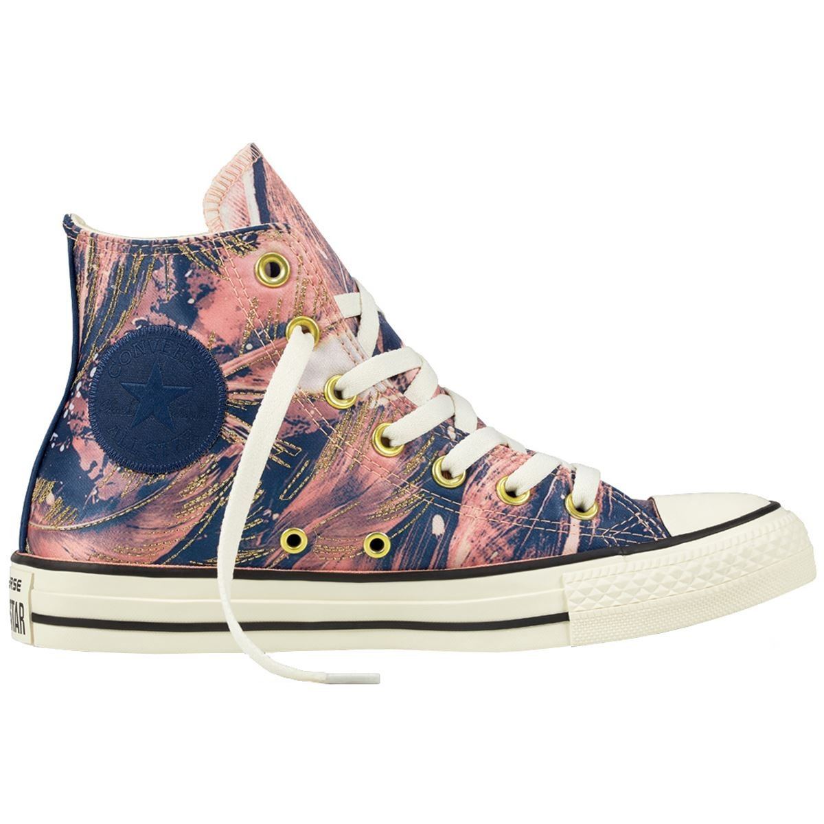Converse Chuck Taylor All Star Satin Hi Top Sneakers Womens Fashion-Sneakers 559863C-689_9 - Pale Coral/Navy/Egret