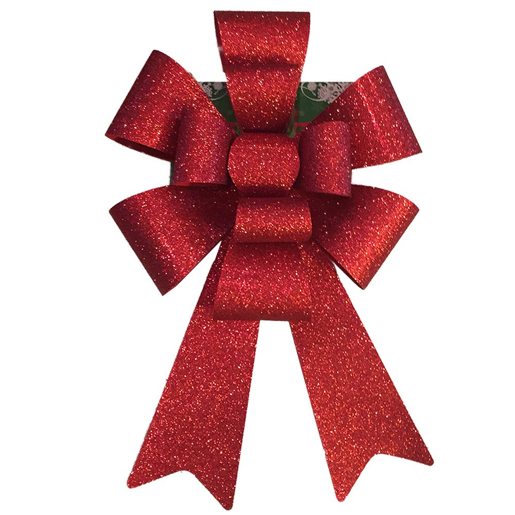 Darice 2900-221 Large 10-Loop Glitter PVC Christmas Bow, 12 X 12'', 12x12'', Red (Pack of 12)